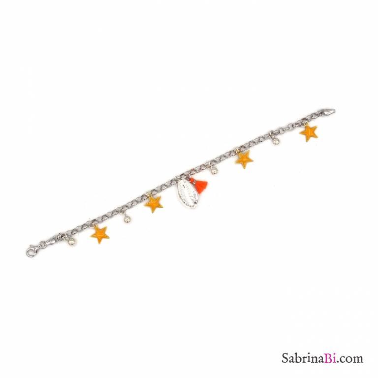 Bracciale argento 925 ciondoli stelle gialle e conchiglia