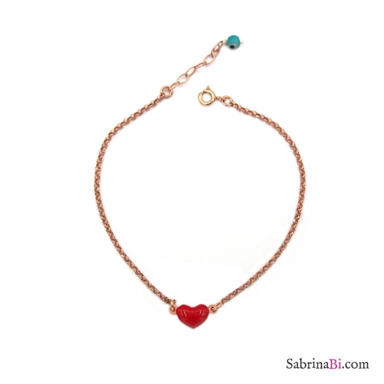 Bracciale argento 925 oro rosa cuore piccolo rosso