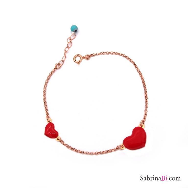 Bracciale argento 925 oro rosa Due cuori rossi