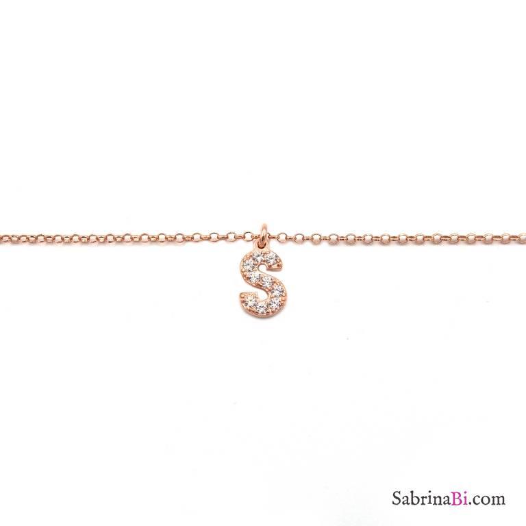 Bracciale argento 925 oro rosa lettera personalizzata nome zirconi