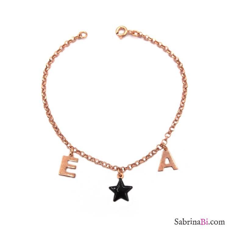 Bracciale argento 925 oro rosa lettere personalizzate nome e stella nera