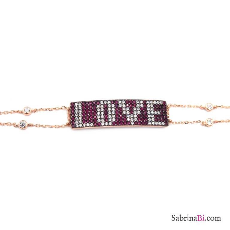 Bracciale argento 925 oro rosa piastrina scritta LOVE brillanti rossi