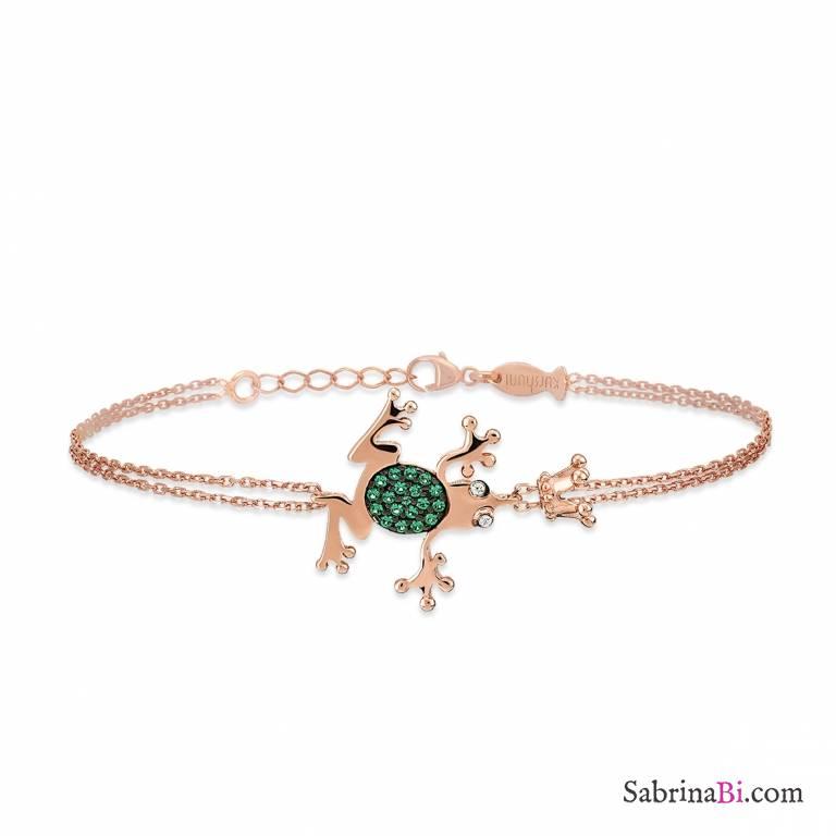 Bracciale argento 925 oro rosa Principe Ranocchio brillanti verdi e corona