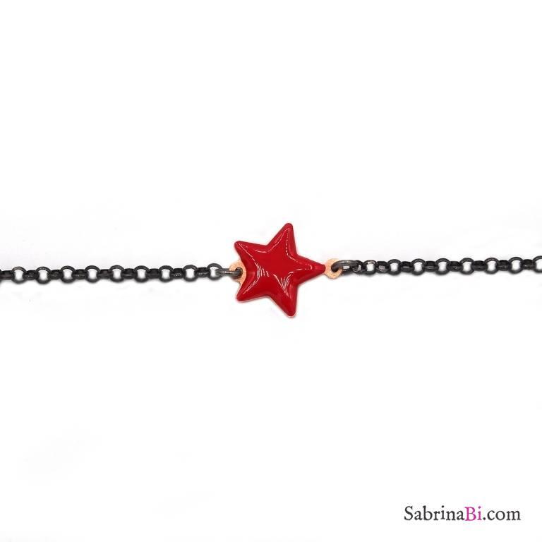 Bracciale argento 925 rodiato nero stella smalto rossa
