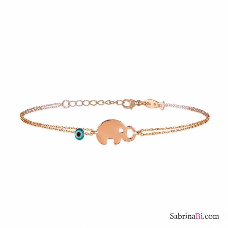 Bracciale bambina argento 925 oro rosa Elefantino