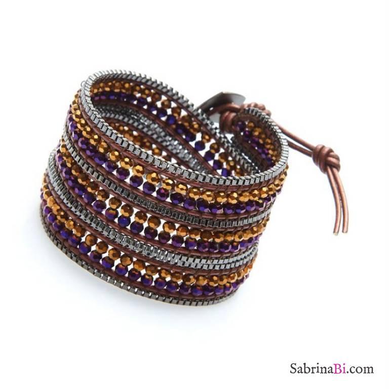 Bracciale unisex multigiro wrap cuoio e cristalli viola e bronzo
