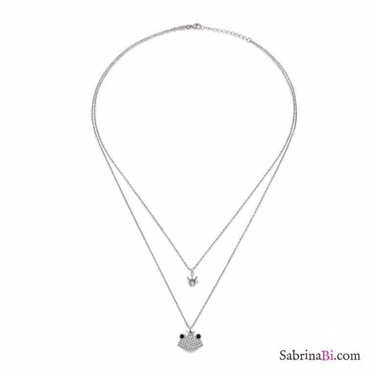 Collana argento 925 doppia catena Principe Ranocchio brillanti e corona