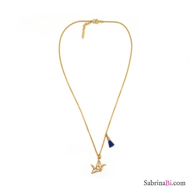 Collana argento 925 placcato oro uccello gru origami e nappina