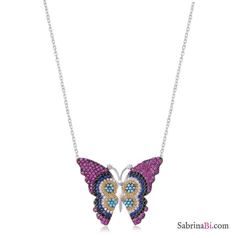 Collana corta argento 925 Farfalla brillanti multicolor