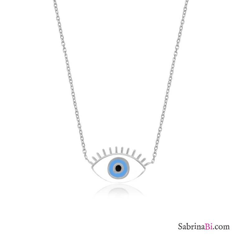 Collana corta argento 925 Occhio con ciglia smaltato