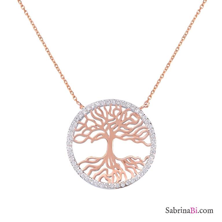 Cubic Zirconia Tree of life rose gold sterling silver choker