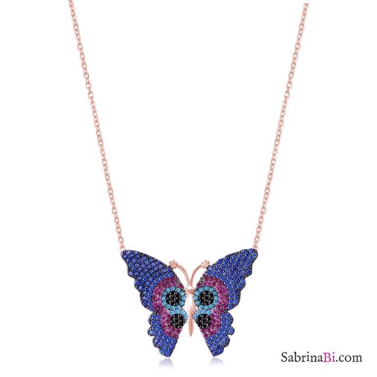 Collana corta argento 925 oro rosa Farfalla multicolor brillanti