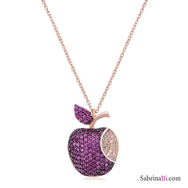 Collana corta argento 925 oro rosa pendente Mela brillanti