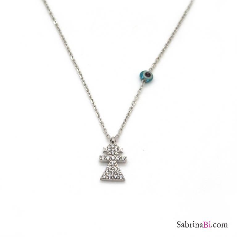 Collana girocollo argento 925 Bambina brillanti