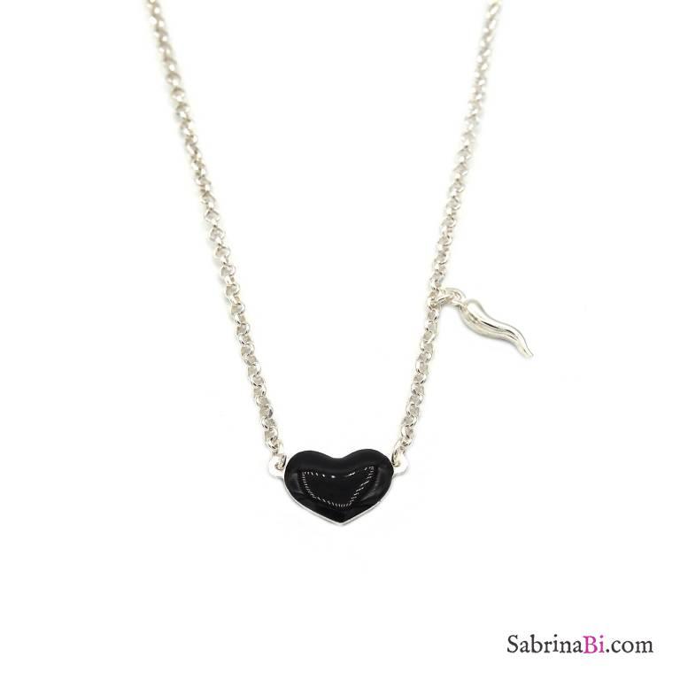 Collana girocollo argento 925 cuore nero grande e cornetto