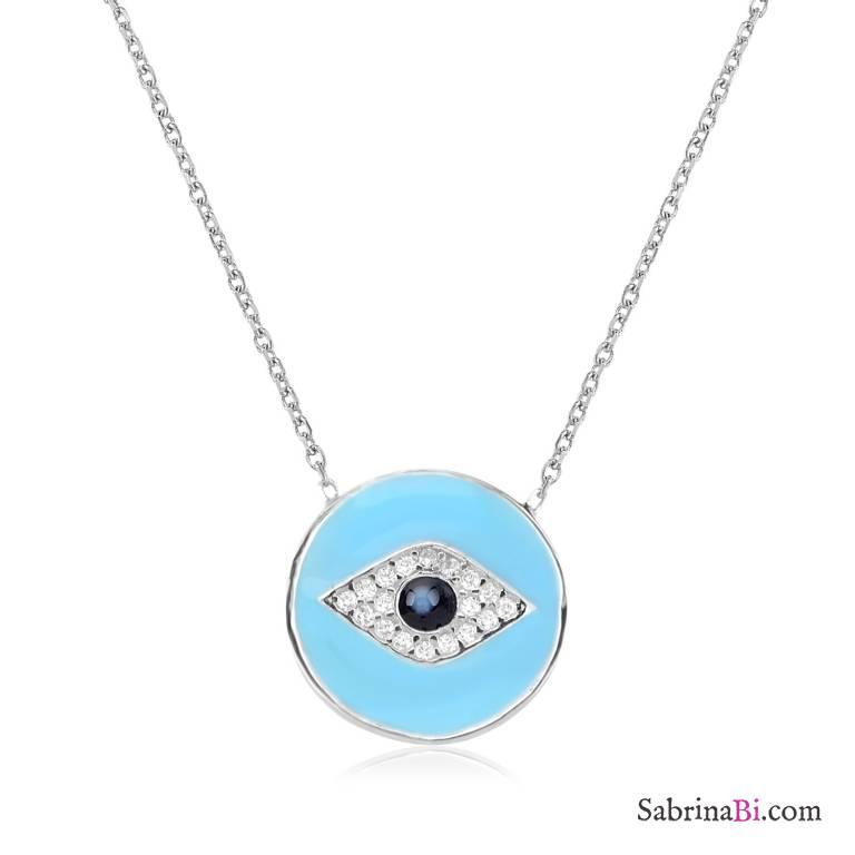Collana girocollo argento 925 Occhio smalto azzurro