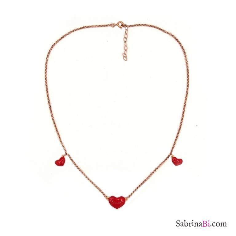 Collana girocollo argento 925 oro rosa 3 cuori smalto rosso
