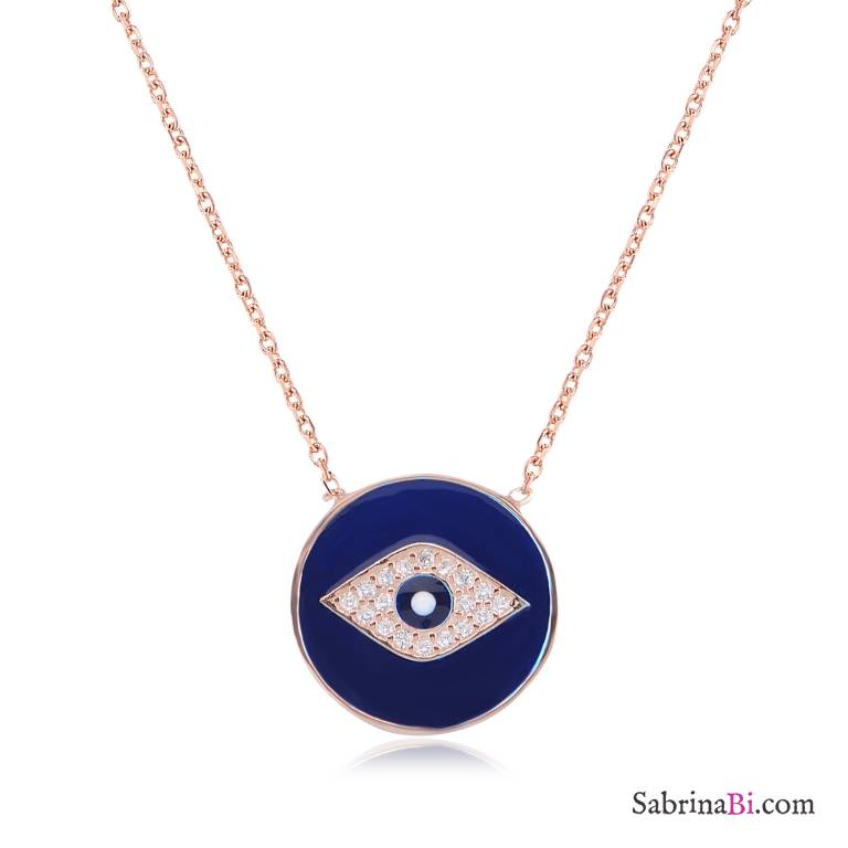 Collana girocollo argento 925 oro rosa Occhio smalto blu