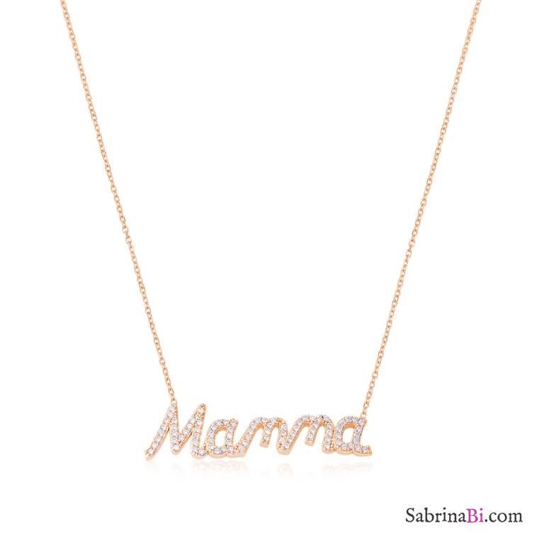 Collana girocollo argento 925 oro rosa scritta Mamma brillanti