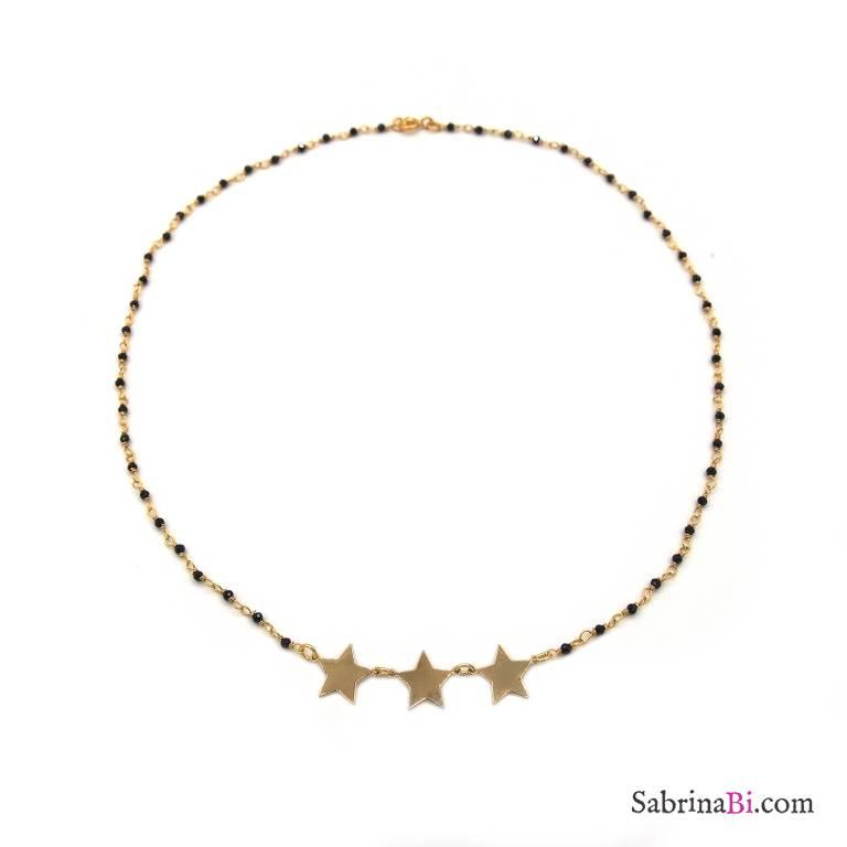 Collana girocollo argento 925 placcato oro rosario cristalli neri e stelle