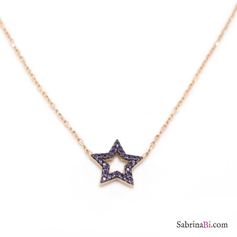 Collana girocollo bambina argento 925 mini Stella brillanti viola