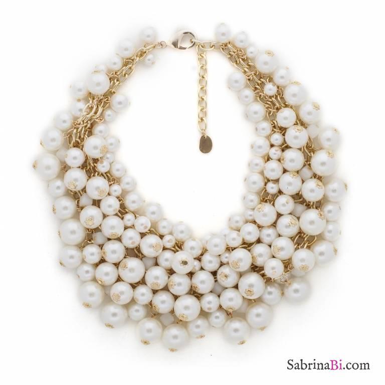 Collana Girocollo Colletto Cascata Di Perle Bianche