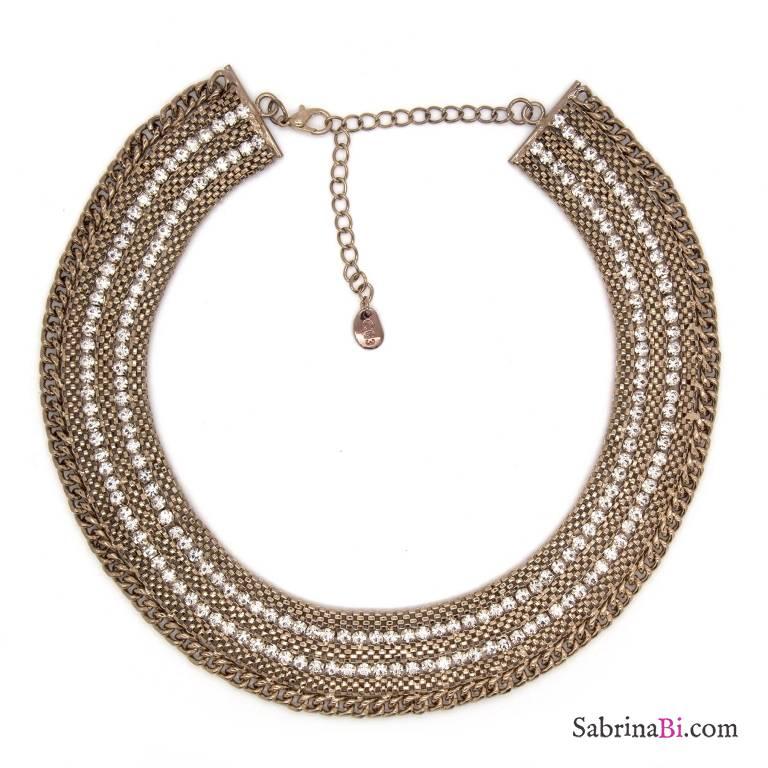 Collana girocollo colletto oro con strass