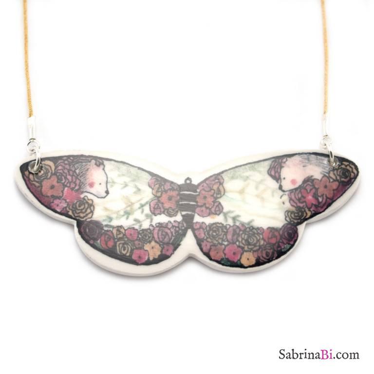 Collana girocollo farfalla grande porcellana con fiori e orsetti