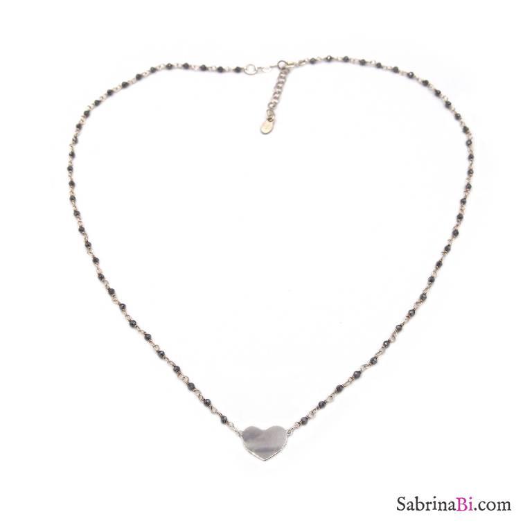 Collana girocollo rosario argento 925 cristalli grigi e cuore