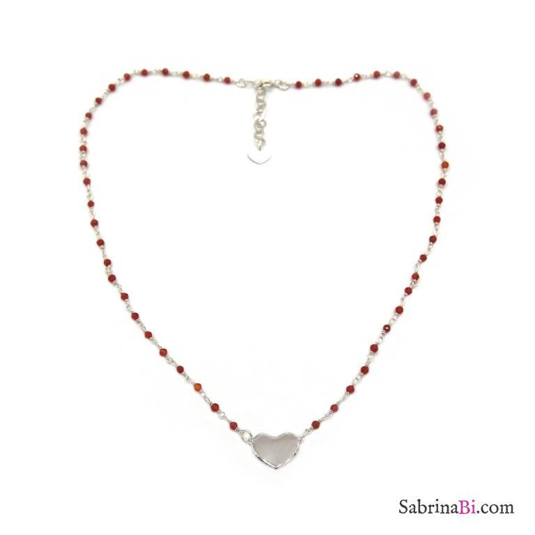 Collana girocollo rosario argento 925 cristalli rossi e cuore