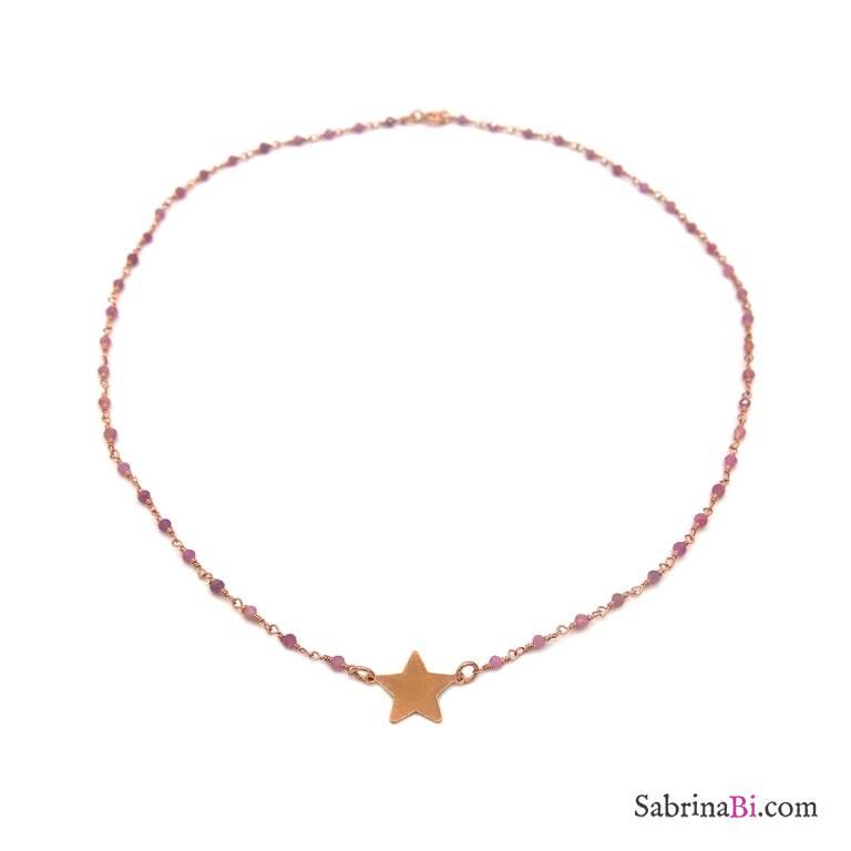 Collana girocollo rosario argento 925 oro rosa quarzo rosa e stella