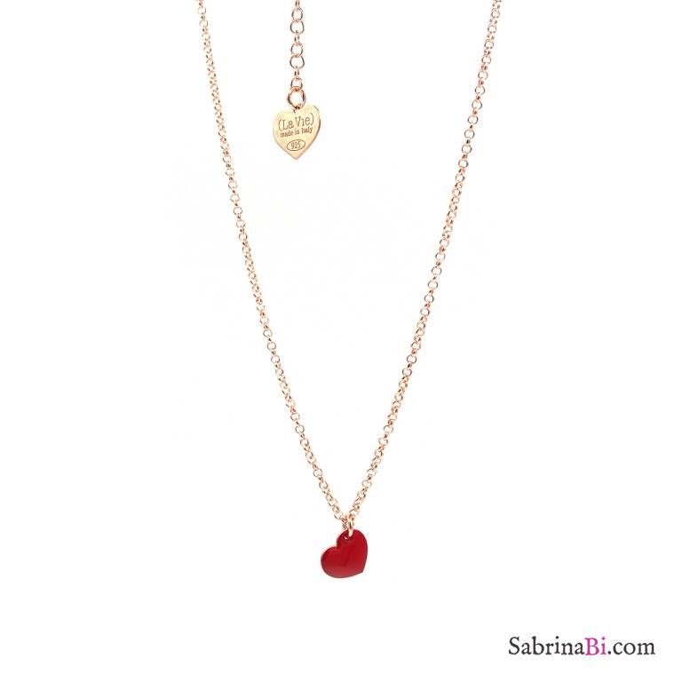 Collana girocollo/strozzacollo/choker argento 925 oro rosa mini cuore rosso