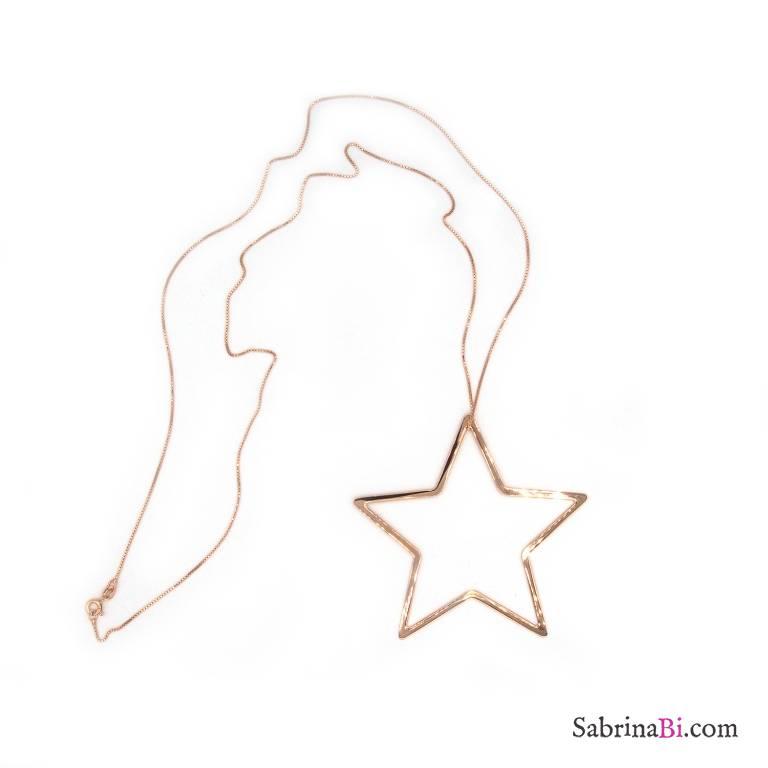 Collana lunga argento 925 oro rosa ciondolo stella grande