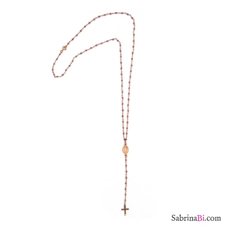 Collana lunga rosario argento 925 oro rosa quarzo rosa