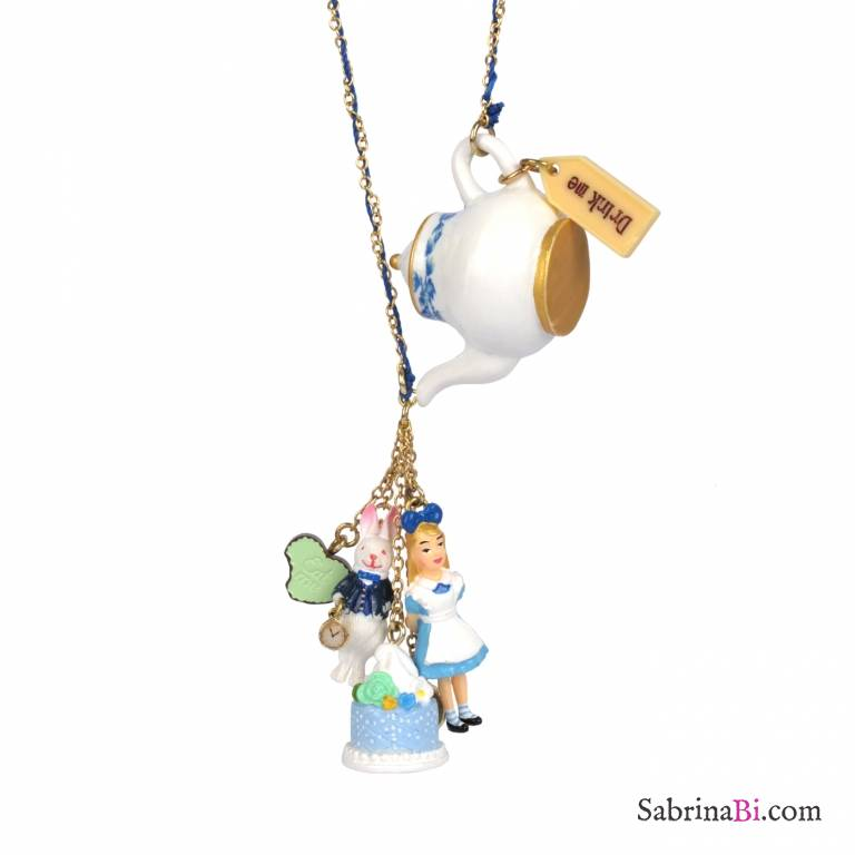Alice In Wonderland Teapot With Charms Long Necklace N2