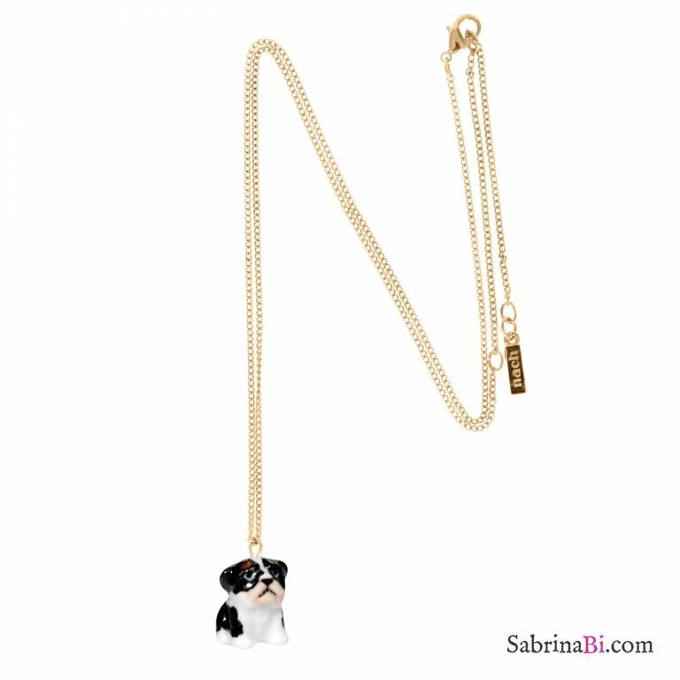 Collana oro ciondolo mini Bulldog Francese porcellana
