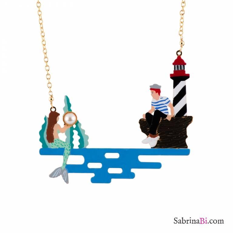Collana oro pendente Marinaio e Sirenetta