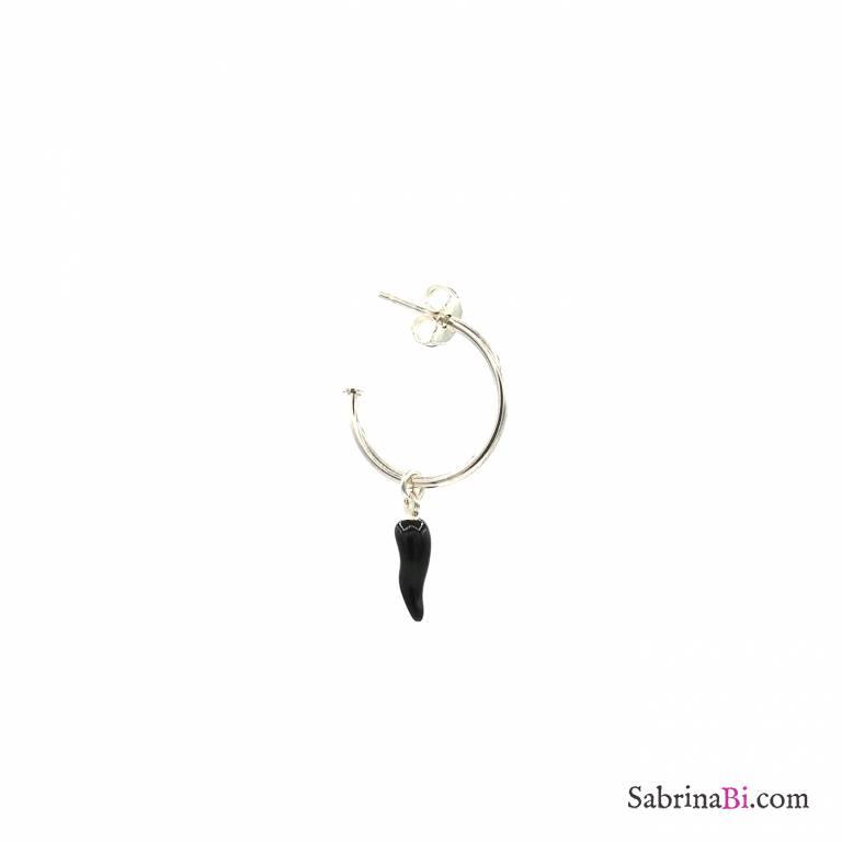 Mono-orecchino a cerchio argento 925 cornetto nero