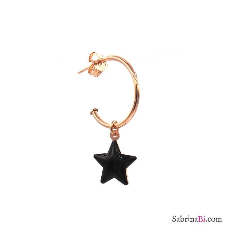 Mono-orecchino a cerchio argento 925 oro rosa stella nera grande