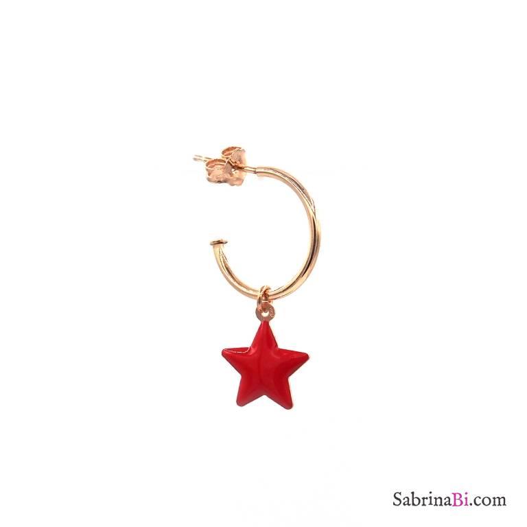 Mono-orecchino a cerchio argento 925 oro rosa stella rossa grande