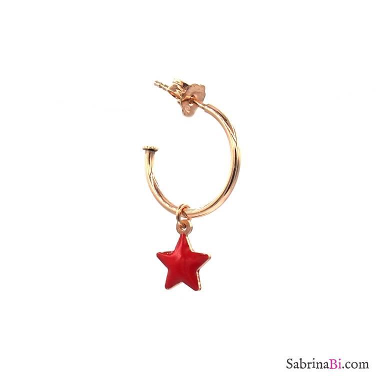 Mono-orecchino a cerchio argento 925 oro rosa stella rossa piccola