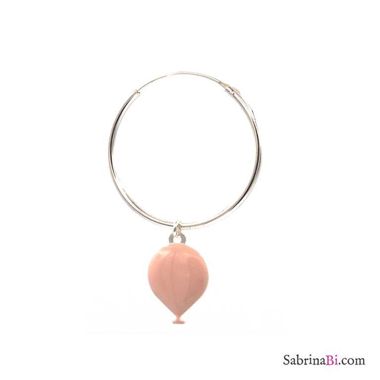 Mono-orecchino cerchio grande argento 925 palloncino rosa