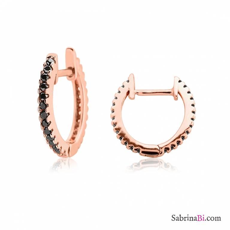Favoloso Orecchini a cerchio argento 925 oro rosa brillanti neri  GA09