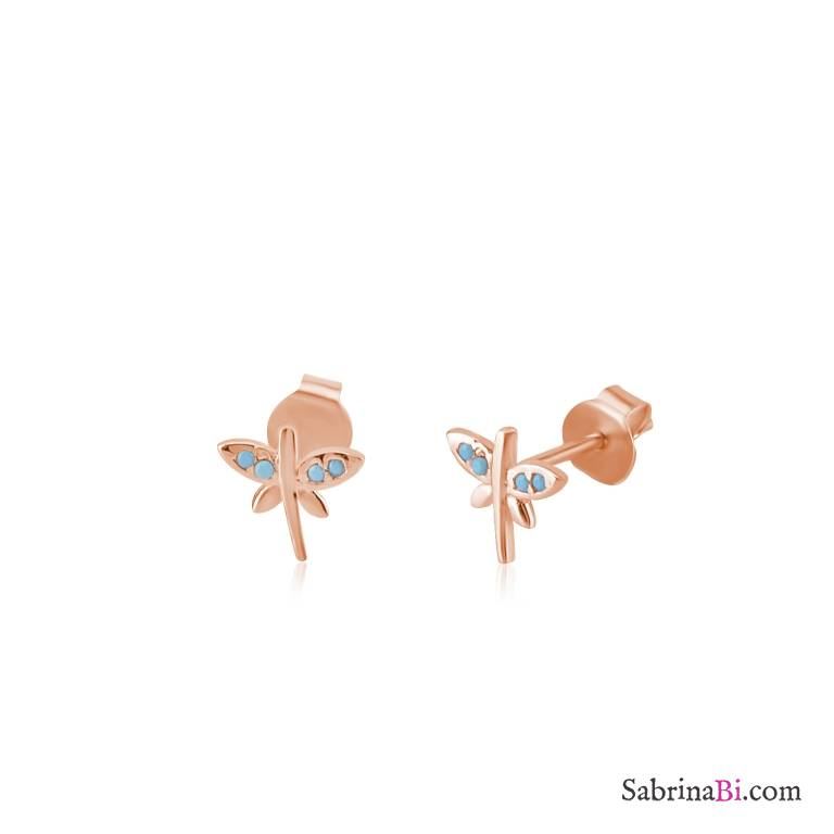 Orecchini a lobo argento 925 oro rosa Libellula Turchesi