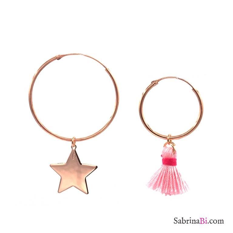 Orecchini cerchio asimmetrici argento 925 oro rosa stella e nappina