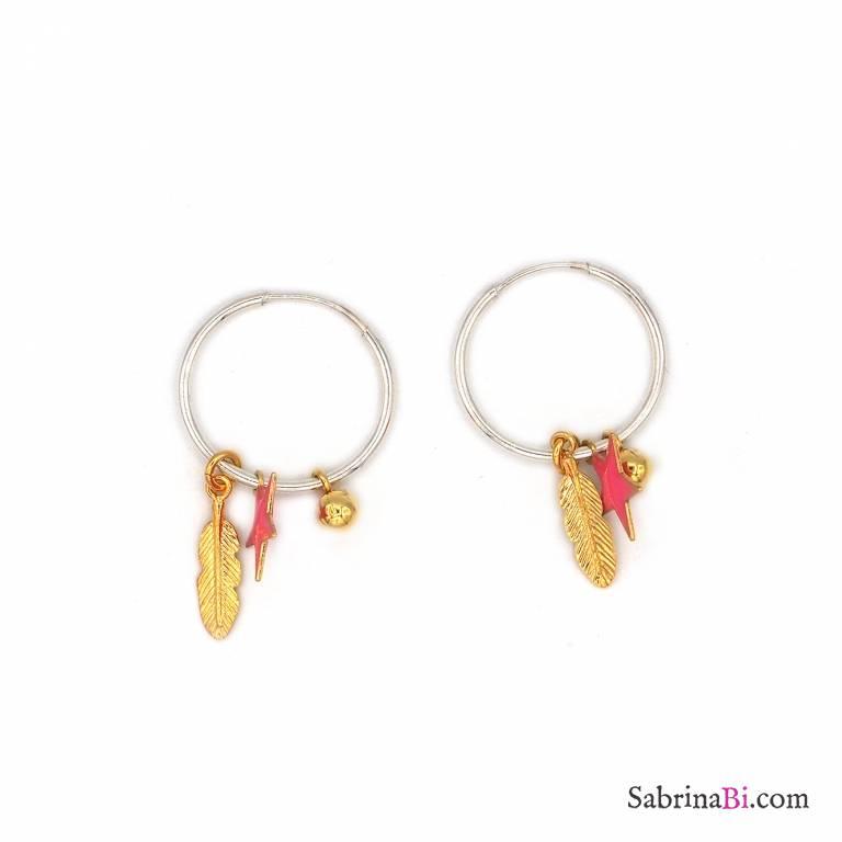 Orecchini cerchio piccolo argento 925 piuma oro e stella rosa