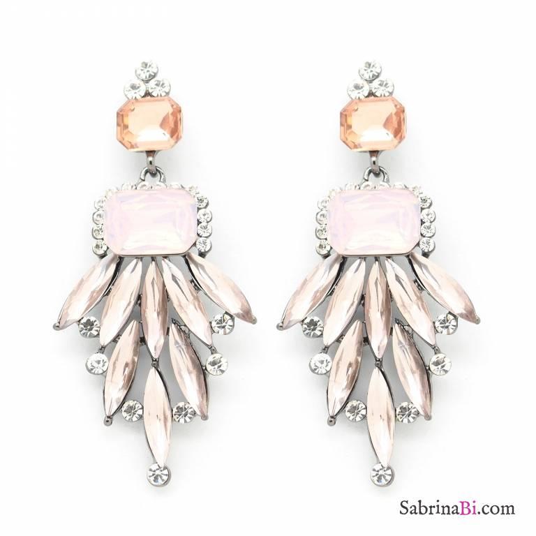 Orecchini Chandelier cascata cristalli rosa