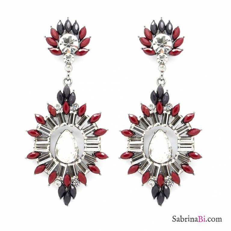 Orecchini Chandelier cristalli e petali bordeaux