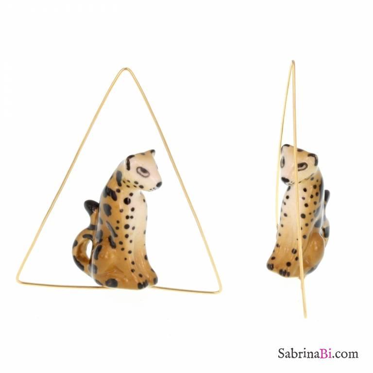 Orecchini creole triangolari oro Leopardo seduto porcellana