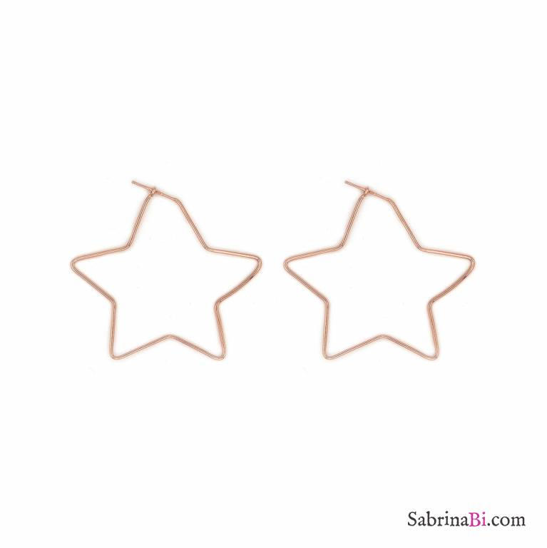 Orecchini pendenti argento 925 oro rosa stella media laterale vuota